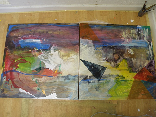 two panels, thin washes of acrylicwith heavier brushstrokes and a triangle lower right