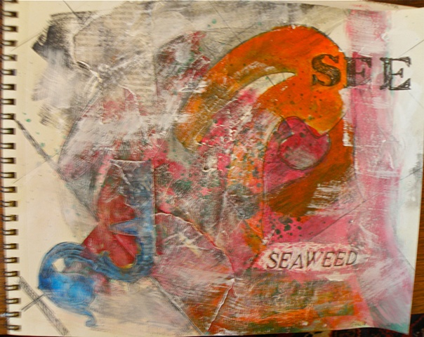 "stencilled ""SEE"" and SEAWEED"" mostly reds and oranges, overlay of white, blue curlicue"