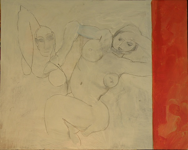 white pencilled outlines of partial Picasso and Matisse figures, rust red stripe right