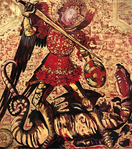 St Michael and the Dragon. After a 15th century Spanish work