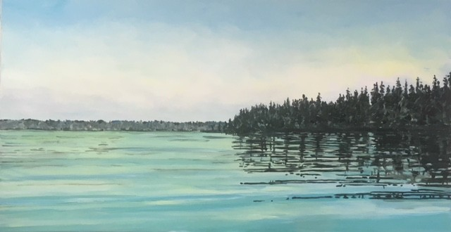 """Aqua Lake with Dark Trees 18"" AC-18-020  ©Rebecca Perehudoff"