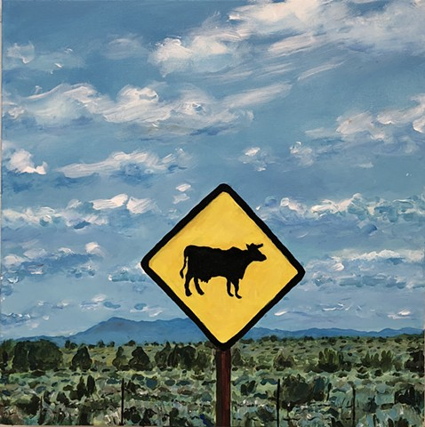 """Cattle Sign with View 18"" AC-18-019 ©Rebecca Perehudoff"