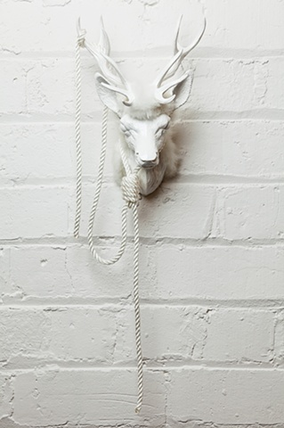 Sculpture of Mixed Media Deer head by Karley Feaver