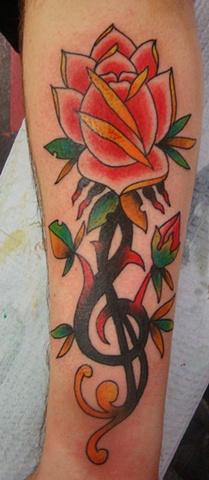 Rockin Tattoos Rose Music Note