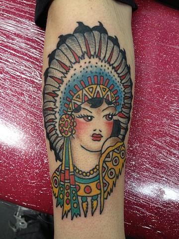 Sailor Jerry indian girl tattoo