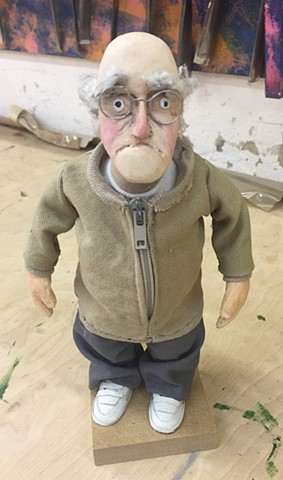 puppetry, animation, grandpa, handcarved wood, doll