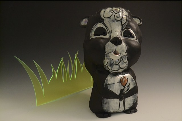 skunk, porcelain, luster, sculpture
