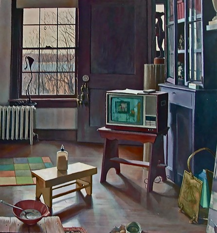 This interior painting was influenced by Vermeer, Hopper, F Porter, and Richard Maury