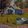 "The Crossing Gard's House. 2009.  Oil, 12""x12"""