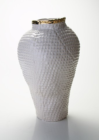 Tall Gold Crochet Vase