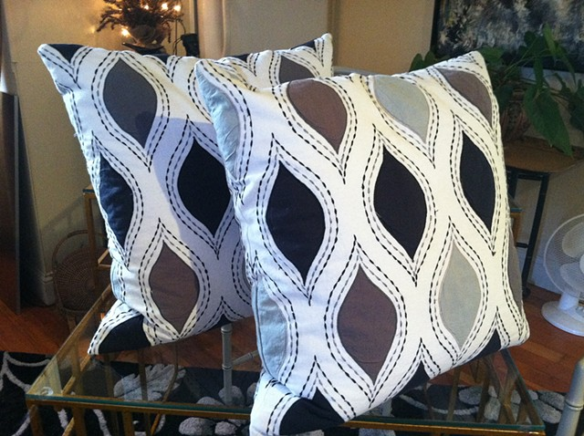 Pair of zip-covered Scalamandre pillows  $150.00 per pillow