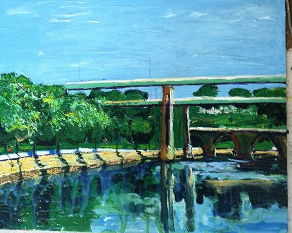 Twin Bridges and Falls Rail Bridge Schuylkill River