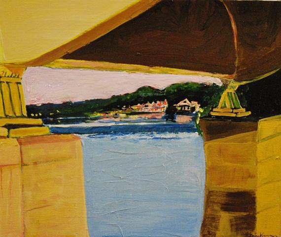 Boat House Row From Under MLK Bridge Schuylkill River