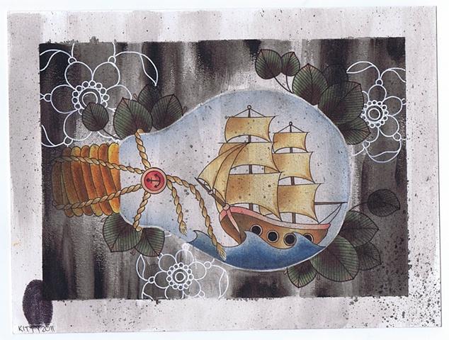 Ship in a Lightglobe by Kitty Dearest.