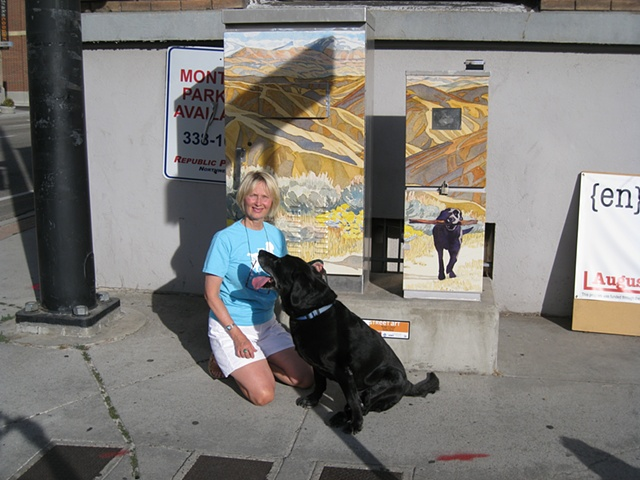Sandy and Scooby at 8th & Myrtle (Boise) Traffic Control Box Art