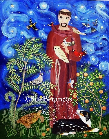 glass painting, glass art, art glass, reverse glass painting, st. francis of assisi, pet portrait, dog portrait, catholic art, sue Betanzos, glass painting, reverse glass painting, saint art, gold, silver, dog, birds,  folk tale