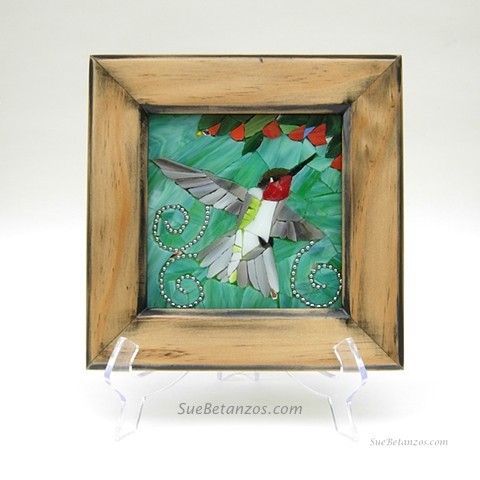 Glass Mosaic, home decor, glass art, glass wall art, Hummingbird art, Hummingbird Mosaic, Sue Betanzos, ruby throated hummingbird, animal artist, bird art, nature art, hummingbird art, hummingbird mosaic