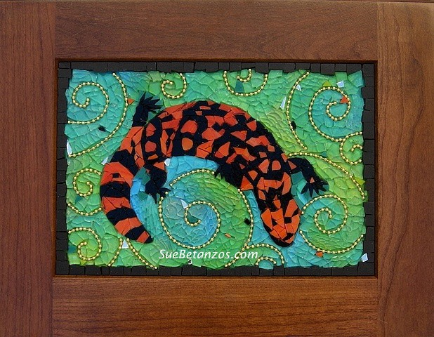 suebetanzos, mirror mosaic, gila monster mosaic, glass mosaic, tempered glass mosaic, gila monster, desert mosaic, lizard mosaic, endangered wildlife mosaic, endangered gila monster mosaic,blue, green, turquoise, gold, beads, southwest mosaic, contempora