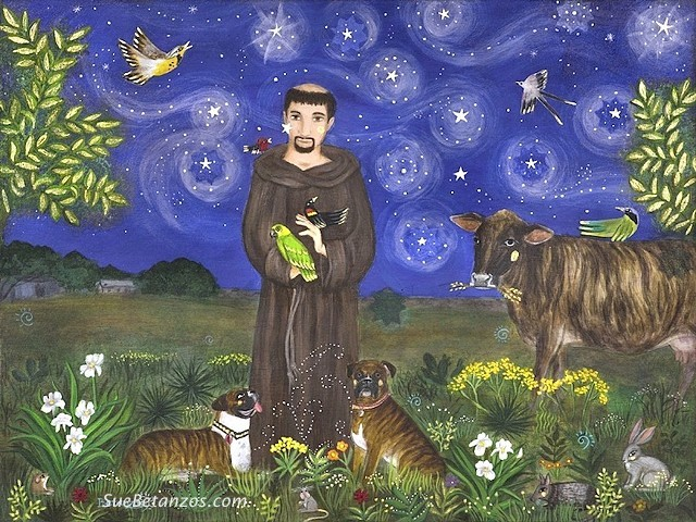 Acrylic painting, St. Francis of Assisi, pet memorial, Texas, pet portrait, catholic art, saint art, starry night, St Francis art, pet art, angus cow, starry night, angus cow, boxer dog, amazon parrot, suebetanzosdesign