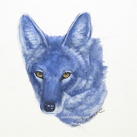 sue betanzos, Blue Coyote acrylic painting, blue coyote, southwest nature, folklore, native american folklore, wildlife art, coyote art