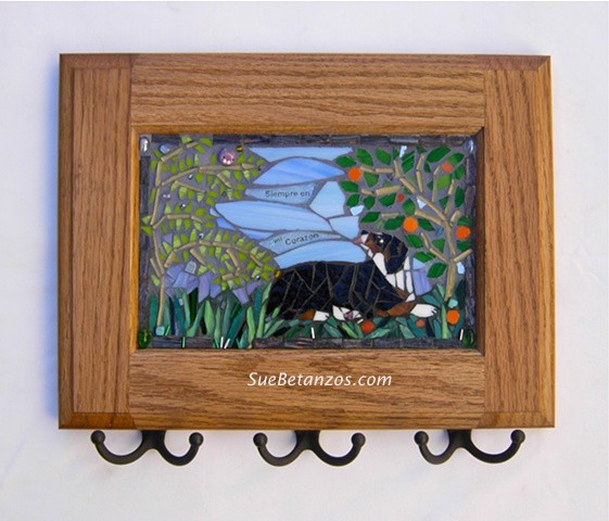 suebetanzos, dog mosaic, pet memorial, pet mosaic, stained glass mosaic, mosaic sign, dog breed mosaic, australian shepherd mosaic, pet mosaic, pet portrait mosaic, pet memorial, key holder mosaic