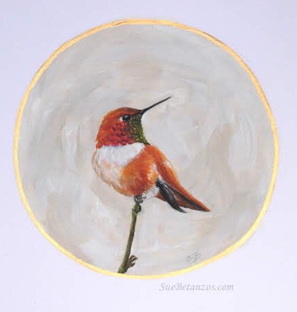 Hummingbird painting, Mr. Rufous, Sue Betanzos Art, Christmas gift, holiday gift, Christmas art, Hummingbird, miniature bird painting, Rufous hummingbird painting, birds, miniature painting, miniature artwork,bird art, miniature painting, bird painting, w