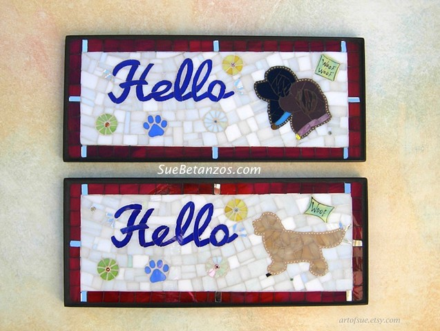 Glass Mosaic, Pet portrait mosaic, mosaic sign, Sue Betanzos, home decor, pet decor, dog accessory, Newfoundland dog, Newfies, custom mosaic dog, custom mosaic animal, custom mosaic sign, suebetanzos, pet portraits