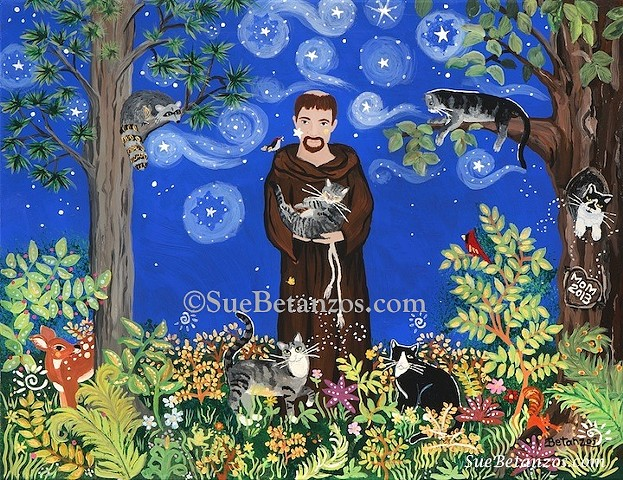 Glass painting, glass art, art glass, reverse glass painting, St. Francis of assisi, Sue Betanzos,  dog, cat, pet, pet portrait, pet memorial, forest wildlife, saint, angel, deer, cardinal, starry night
