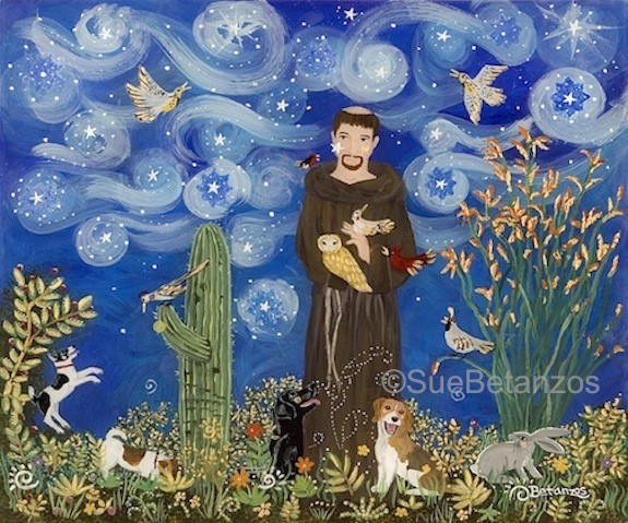 St. Francis of assisi, Sue Betanzos,  beagle, Labrador retriever, Jack Russel Terrier, reverse glass painting, glass painting, Bird art, bunny art, dog, cat, pet, pet portrait, pet memorial, forest wildlife, saint, angel, deer, cardinal, starry night