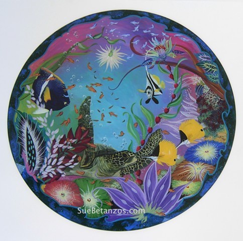 Glass Painting, home decor, beach, ocean, sea turtle, beach decor, ocean decor, sea painting, sea turtle painting, sue betanzos, sue betanzos design, sue betanzos art, sue betanzos glass painting, reverse glass painting, sea turtle painting, ocean paintin