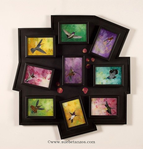 Hummingbird Dance paintings, hummingbird paintings, Sue Betanzos Art, Christmas gift, holiday gift, Christmas art, Glass painting, glass art, art glass, reverse glass painting, Hummingbird art, hummingbird painting, bird painting, Reverse Glass Painting,