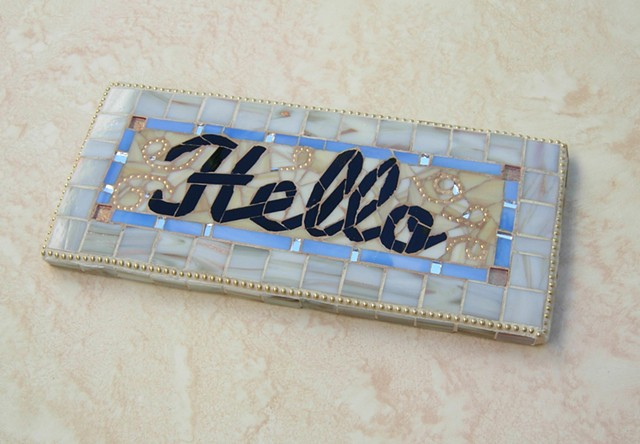 Glass mosaic, glass mosaic sign, home decor, garden decor, garden art, garden sign, hello sign, sue Betanzos