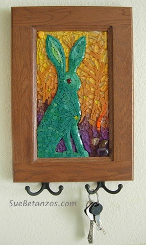 suebetanzos, glass mosaic, bunny mosaic, tempered glass mosaic, gold, jackrabbit, mosaic, contemporary, abstract, glass, agate, mirror, nature, tempered glass