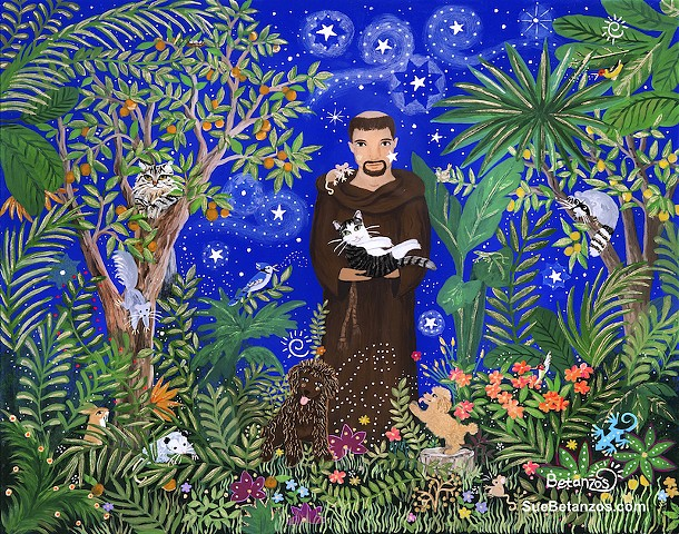 St. Francis in California, original St. Francis painting, Sue Betanzos art, Mothers Day gift, Birthday gift, St. Francis art, sue betanzos design, Pet Portraits, Dog Gift, Pet Gift, Pet Gift, St. francis of assisi, starry night