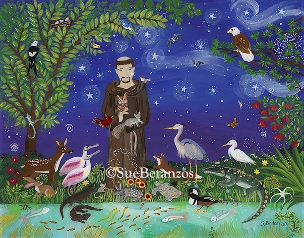 Glass painting, glass art, art glass, reverse glass painting, nature painting, Florida, St. Francis of Assisi, Florida wildlife, Florida birds, reverse glass painting, Sue Betanzos, catholic art, saint art, St. Francis art