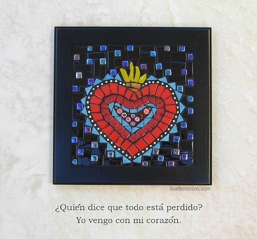 Milagro Heart, Sue Betanzos Art, Christmas gift, holiday gift, Christmas art, Glass mosaic, glass heart, home decor, heart mosaic, Milagro mosaic, Milagro, Sue Betanzos