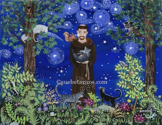 Glass painting, reverse glass painting, glass art, art glass, St. Francis of Assisi, cat art, nature art, black cat, pet memorial, sue betanzos, cat portrait, pet portrait, pet memorial, forest wildlife, saint, catholic art, catholic saint, St. Francis of