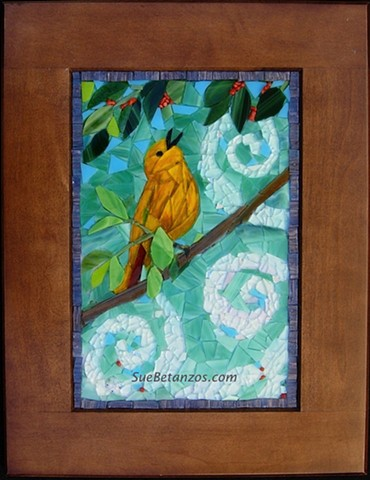 suebetanzos, mosaic, glass, bird mosaic, yellow warbler mosaic, wildlife mosaic, bird art, mosaic yellow bird, mosaic bird