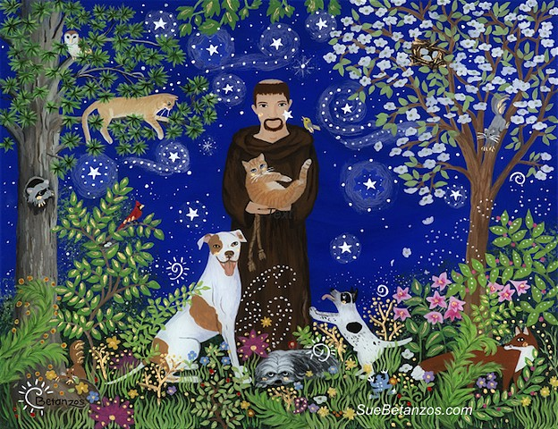 St. Francis of assisi, Sue Betanzos, reverse glass painting, glass painting, Pitt Bull, Pitti, dog, cat, pet, pet portrait, pet memorial, forest wildlife, saint, angel, deer, cardinal, starry night