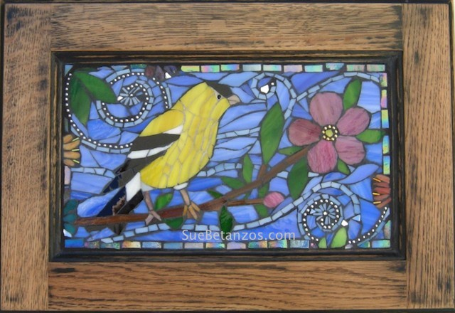Glass Mosaic, Home decor, interior decor, Glass Wall Hanging, goldfinch mosaic, songbird mosaic, goldfinch art, bird art, suebetanzos, stained glass mosaic