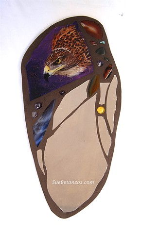 sue betanzos, glass mosaic, mirror mosaic, bird mosaic, hawk, bird mosaic, reverse glass painting, hawk glass painting, red tailed hawk painting, mirror mosaic,  glass, stones, beads