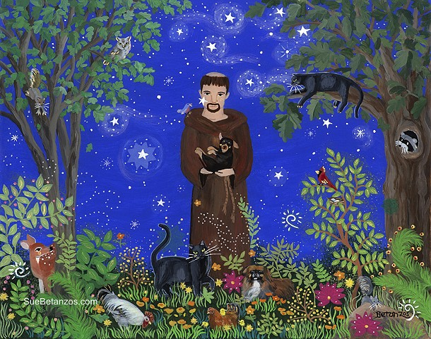 Reverse Glass, St. Francis, glass painting, glass art, art glass, St. Francis portrait, pet portrait, reverse glass painting, Sue Betanzos, black cat, glass art, cat art, Pekinese, starry night, fantasy art, Pet art, dog art