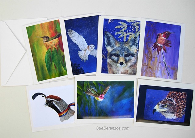 Wildlife Cards, handmade cards, sue betanzos,wildlife stationary, wildlife art, animal art, note cards, reverse glass painting, birds