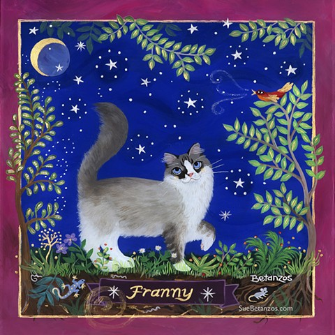 reverse Glass, pet portrait, reverse glass painting, glass painting, glass art, art glass Sue Betanzos, cats, glass art, cat art, starry night, fantasy art, Pet art