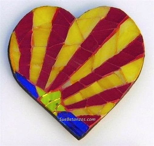 suebetanzos, glass mosaic, heart mosaic, stained glass mosaic, arizona heart mosaic, small heart mosaic, small arizona mosaic