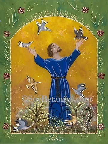 Glass painting, glass art, art glass, st. francis of assisi, Sue Betanzos, nature, birds, catholic saint, st. francis, catholic religion, st. francis painting, st. francis artwork