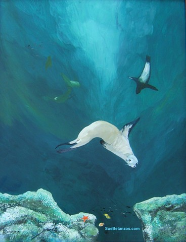 sea lion, underwater painting, sea life, ocean, wildlife, sue betanzos, sea wildlife, ocean wildlife, coral reef, fish