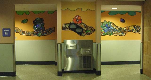 Tucson International Airport public art, sue betanzos, wood rat glass painting, stained glass, bilingual story, tohono o odham folktale, airport public art, mosaic mural, airport mosaic mural, , coyote, bluebird, folk tale, mosaic, mosaic mural, stained g