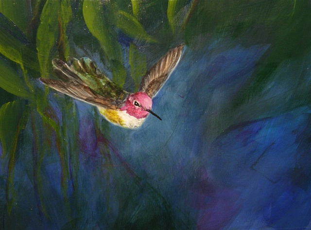 sue betanzos, bird painting, hummingbird painting, Anna's hummingbird painting, southwest hummingbird painting, contemporary bird painting