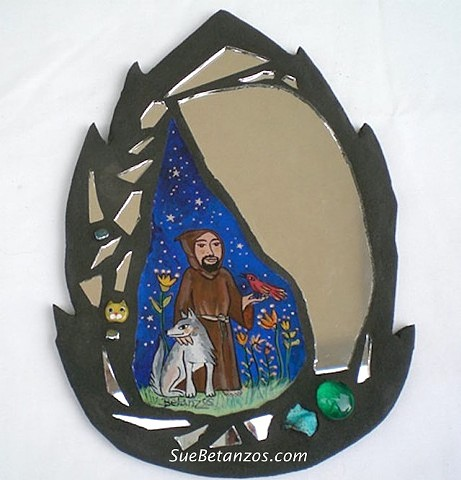 St. Francis of Assisi, St. Francis art, glass mosaic,Sue Betanzos, mirror mosaic, st. francis of assisi mosaic, st, francis of assisi painting, mixed media mosaic, st. francis, reverse glass painting, wolf painting, st. francis and wold of gubbio